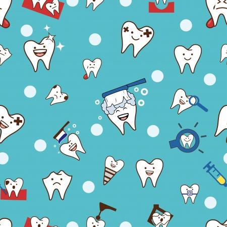 Naadloze: Naadloze tanden patroon Stock Illustratie