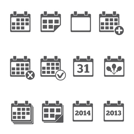Vector Calendar Icons  event add delete progress Vector