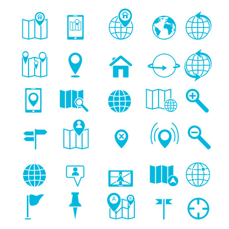 Map icons on white background  GPS and Navigation  Vector illustration