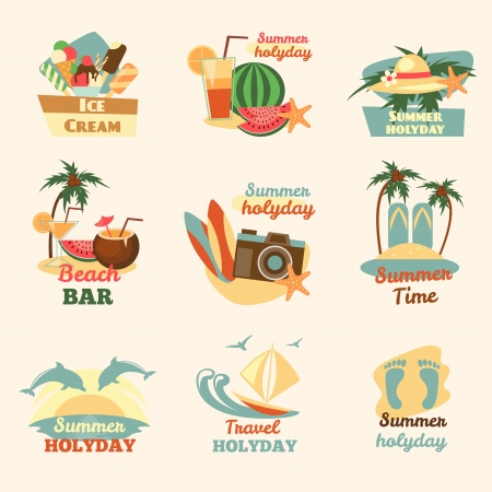 Retro beach emblems Vector