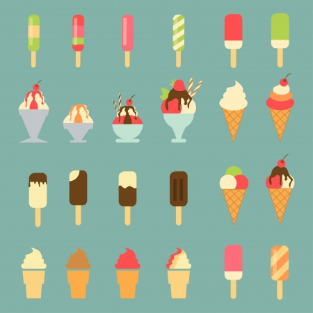waffle ice cream: Ice cream set Illustration