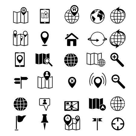 Map and location icons set black