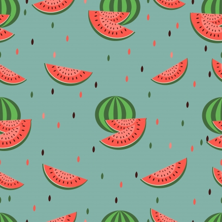Seamless watermelon pattern with seeds Vector