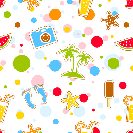 abstract backround: Summer vacation holiday seamless pattern icons