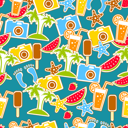 seamless pattern with colorful summer icons Vector