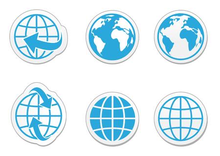 글로브 지구 벡터 아이콘 리플렉션과 함께 설정