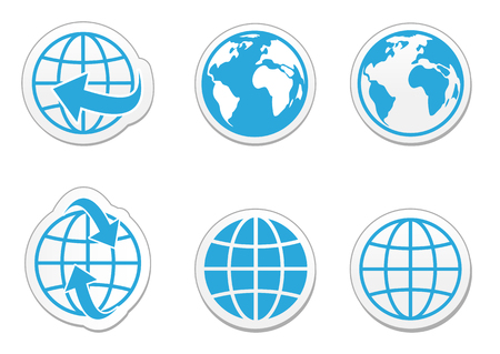 Globe earth vector icons set with reflection Ilustracja