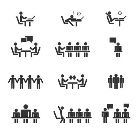 관리, 인적 자원, 비즈니스 명 사용자 벡터 아이콘 설정