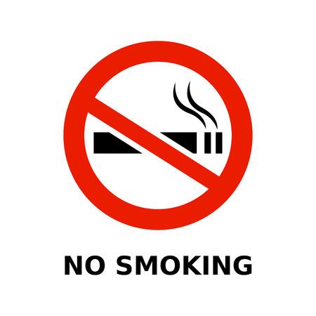 Símbolo de no fumadores y el texto sobre fondo blanco