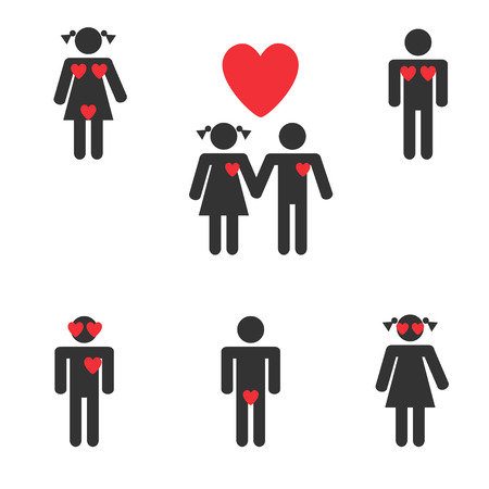 Hetero and lesbian love couples labels set Vector
