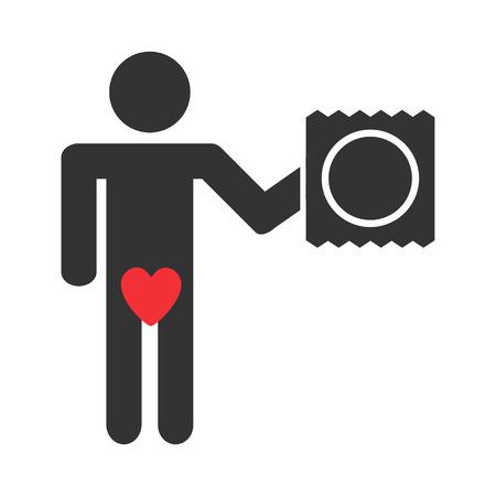 Cartoon condón sexo seguro - icono del vector aislado Ilustración de vector