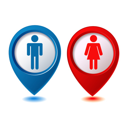 blue and red location woman man icon Vector