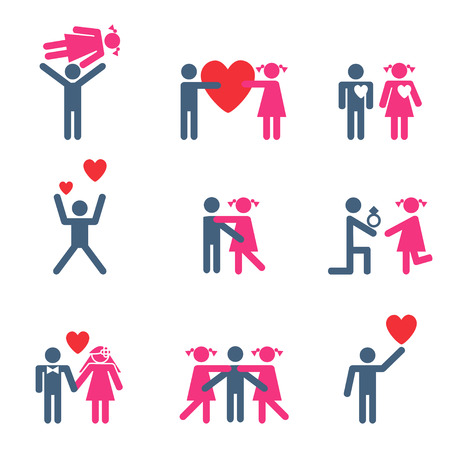 Vector isolated family icons set Vector