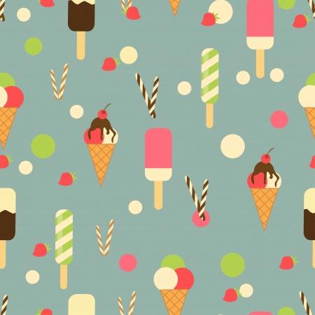 アイス クリーム コーンのシームレスなパターン背景