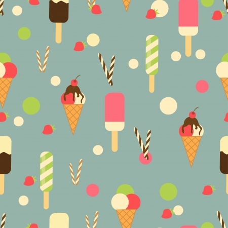 아이스크림 콘 원활한 패턴 배경 일러스트