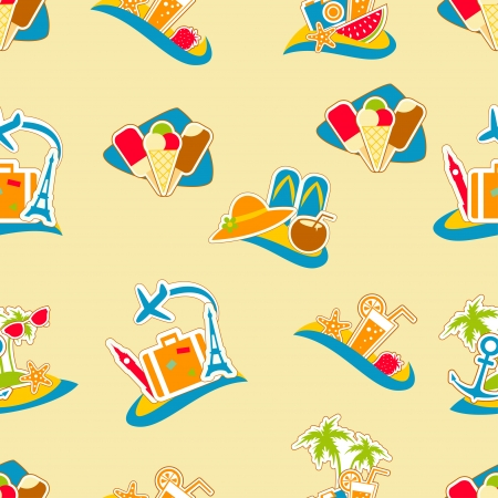 holiday icons: Summer vacation holiday icons seamless background