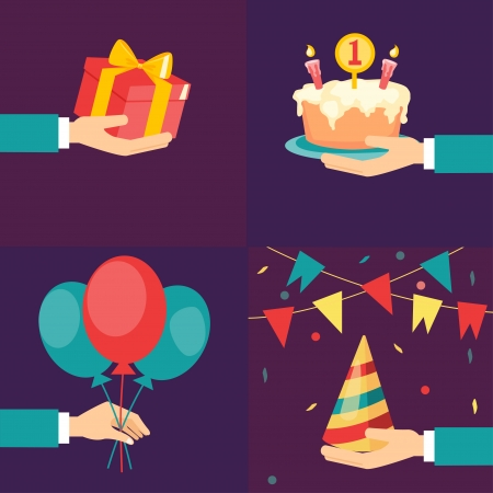 Vector birthday and party icons and signs - collection flat style Ilustração