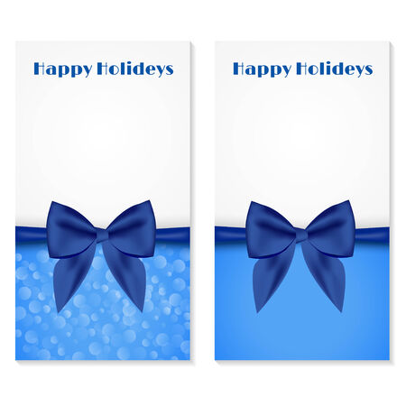 spangle: Elegant greeting cards with blue bows and copy space  Vector illustration