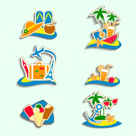 snorkel: Summer Icons with White Background Illustration
