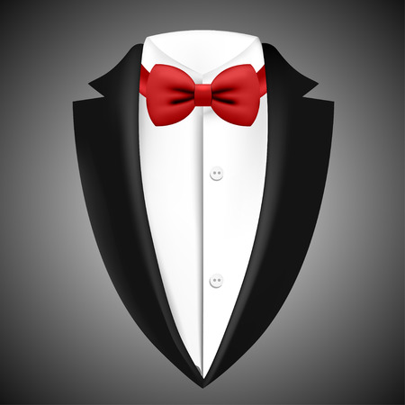 Illustration of tuxedo with bow tie on a black