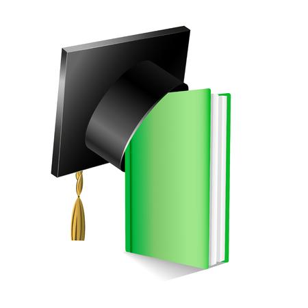 graduation gown: Graduation cap on stuck of books  Vector illustration