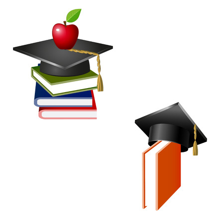 Traditional graduation hat, books and apple isolated on white Illustration