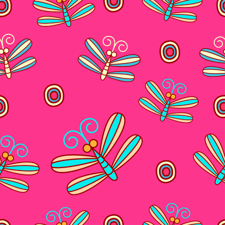 Cute seamless pattern with insects Vector