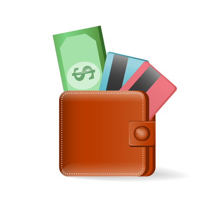 Leather wallet with credit cards and dollars USA on a white background  Vector