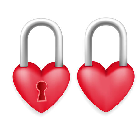 Red Heart Lock Padlock Romance Love Valentine Day Concept  Vector