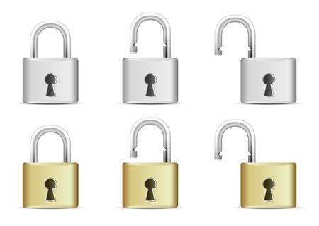locked icon: Locked and unlocked Padlock Icon isolated on white