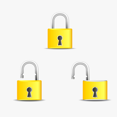Locked and unlocked lock Icon  Vector