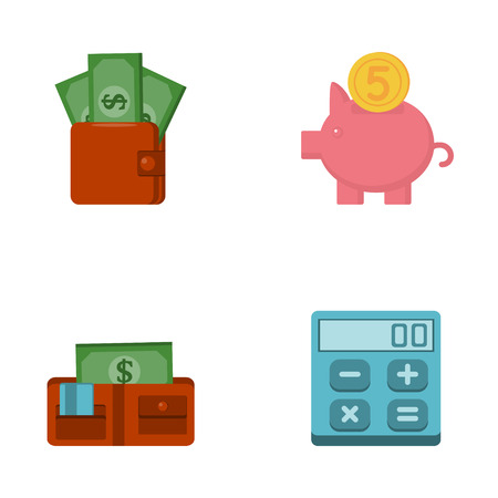 wallet: Vector icons set of finance objects in modern flat design  Isolated on white background Illustration