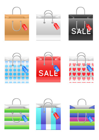 Set of shopping bags in different shapes and colors Vector