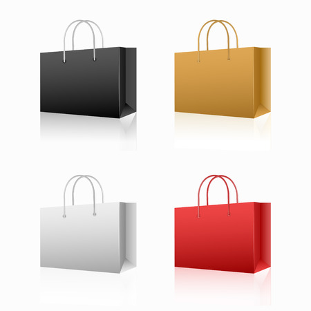 white paper bag: Set of empty paper shopping bag, vector