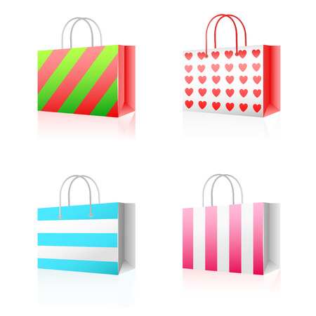 Vector illustration of multicolored paper shopping bag isolated on white background  Vector
