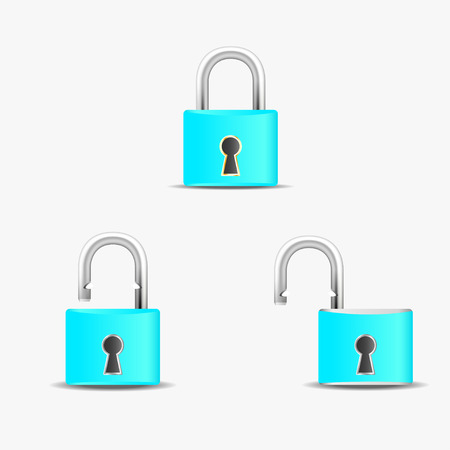 pad lock: Vector illustration of security concept with locked blue pad lock Illustration