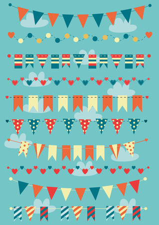 Colorful bunting and garlands 向量圖像