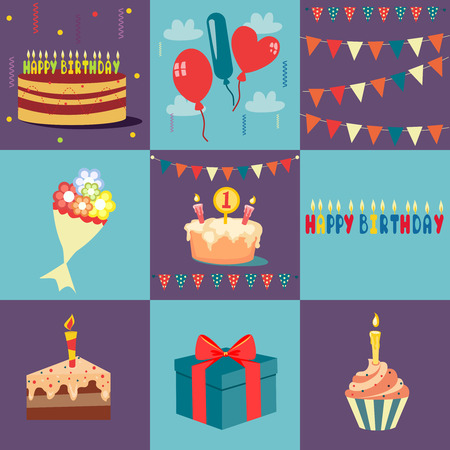 Vector birthday and party icons and signs - collection in retro flat style