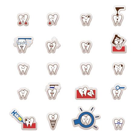 Teeth mega set  Big dental collection your design   Vector
