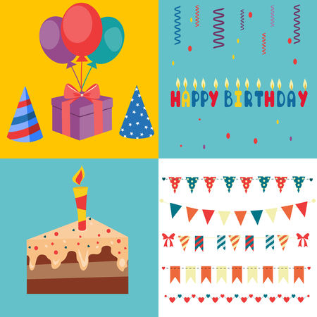 holiday food: Set of vector birthday party elements  Illustration