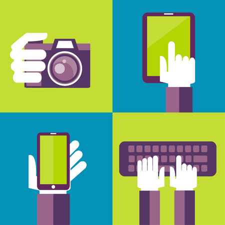 Vector set of flat icons - mobile phone, laptop, digital camera, tablet pc Vector