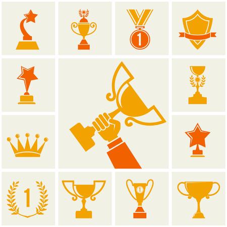 award trophy: Trophy and awards icons set illustration Illustration