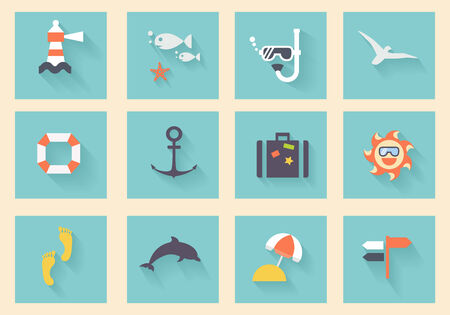 diving save: Modern flat icons vector collection with long shadow effect in stylish colors of traveling, tourism and vacation theme