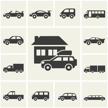 Car icons set illustration