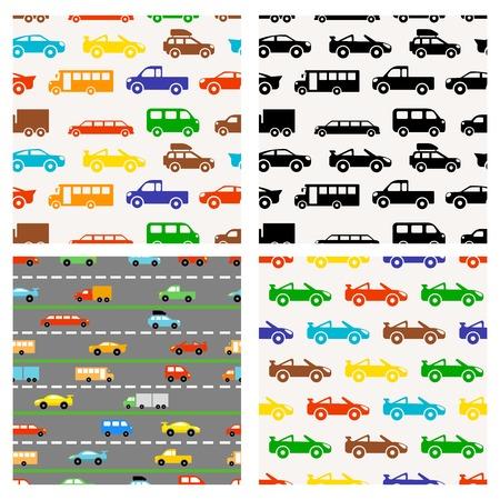 컬러 풀 한 작은 자동차와 원활한 패턴 일러스트