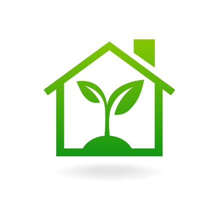 eco house: Eco house concept green leaf icon