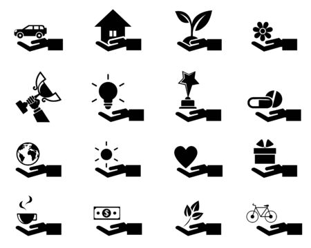 hands cupped: Hand concept icons.  Illustration
