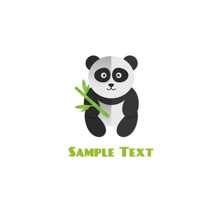 Panda with bamboo vector illustration. flat style Vector