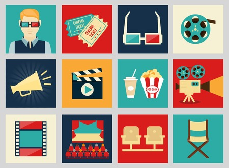 cine: Set of movie design elements and cinema icons in flat style  Illustration