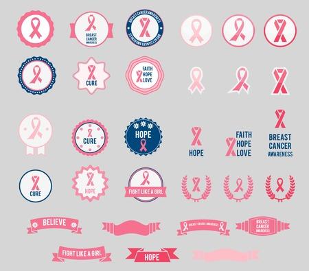 cancer ribbons: Vector Breast Cancer Awareness ribbons and badges